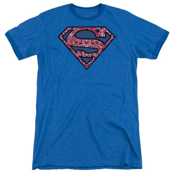 Superman Paisley Shield Adult Heather Ringer Royal Blue