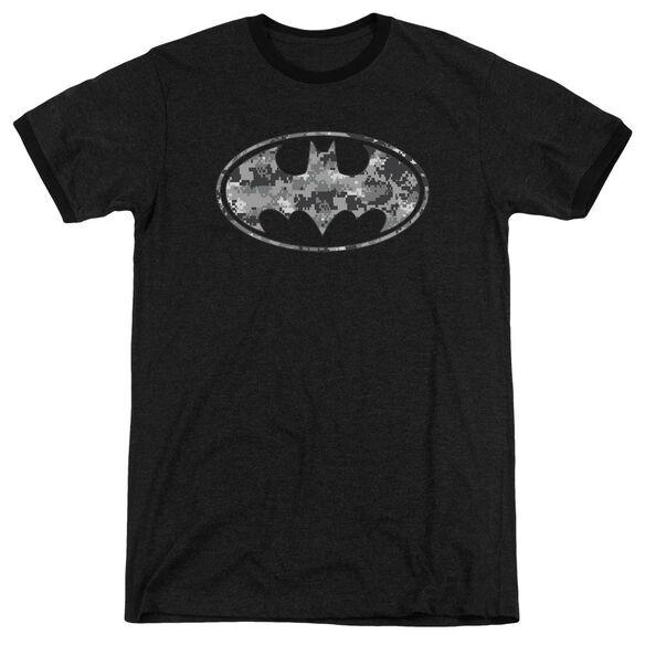 Batman Urban Camo Shield - Adult Heather Ringer - Black