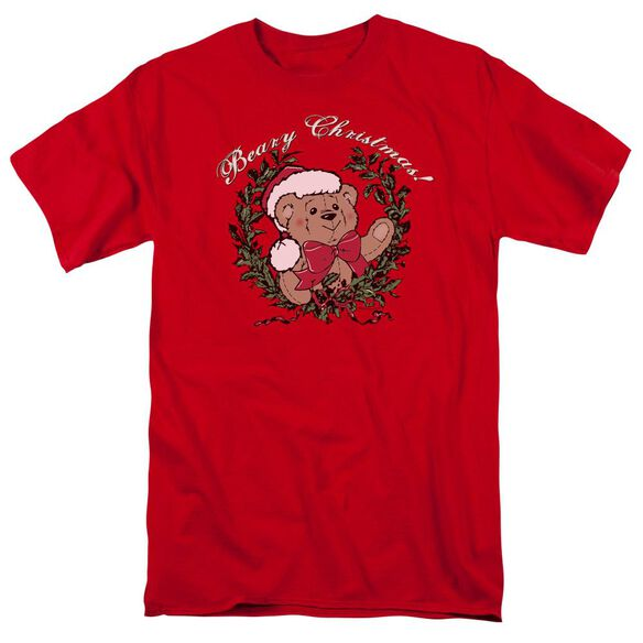 Beary Christmas Short Sleeve Adult Red T-Shirt