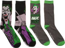 Joker Magic Trick 2 Pack Crew Socks Set