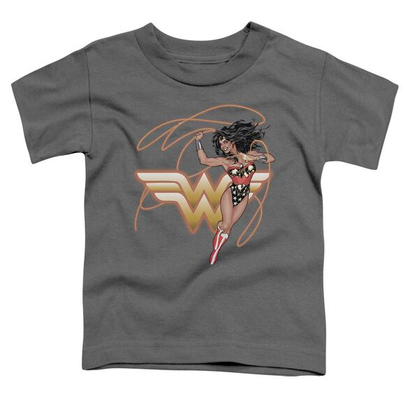 Jla Glowing Lasso Short Sleeve Toddler Tee Charcoal T-Shirt