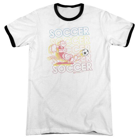 Popeye Soccer - Adult Ringer - White/black