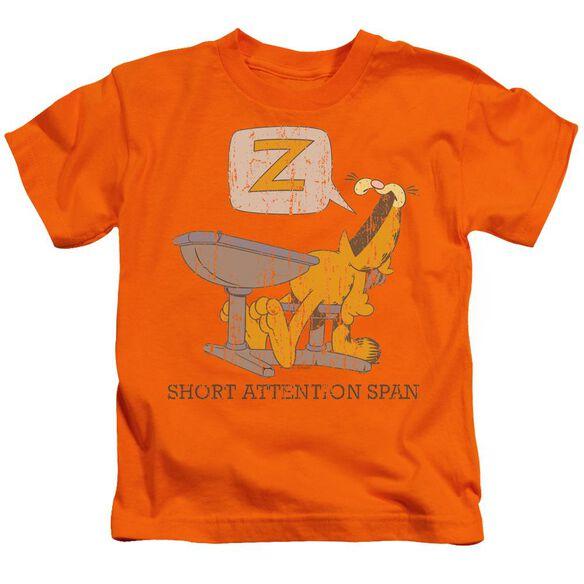 Garfield Attention Span Short Sleeve Juvenile Orange T-Shirt