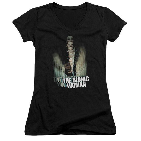 Bionic Woman Motion Blur Junior V Neck T-Shirt