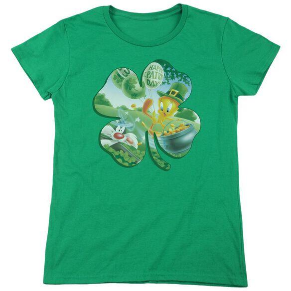 Looney Tunes Tweety Shamrock Short Sleeve Womens Tee Kelly T-Shirt
