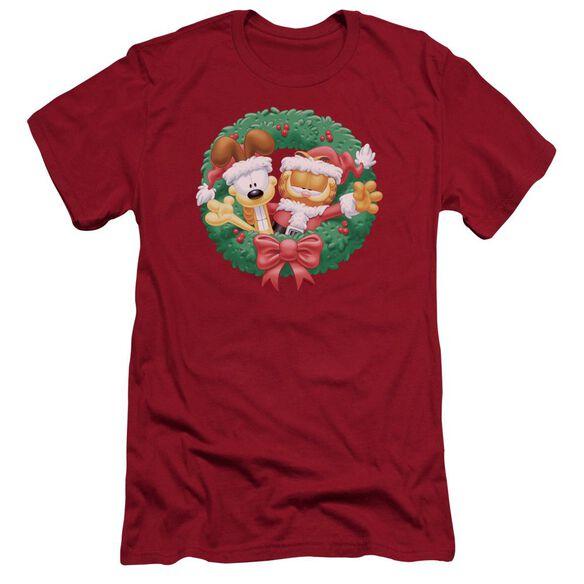 Garfield Christmas Wreath Premuim Canvas Adult Slim Fit
