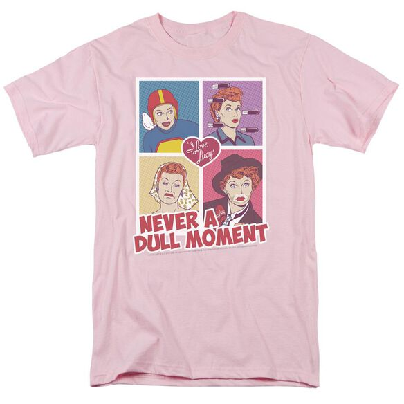 I Love Lucy Panels Short Sleeve Adult Pink T-Shirt