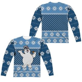 Frosty The Snowman Frosty Sweater (Front Back Print) Long Sleeve Adult Poly Crew T-Shirt