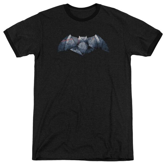 Batman V Superman Plated Bat Logo Adult Heather Ringer
