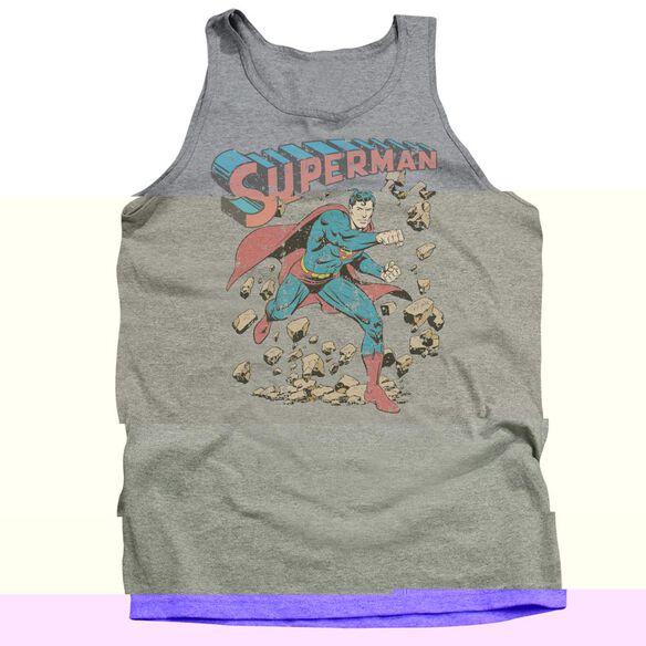 Superman Mad At Rocks - Adult Tank - Athletic Heather
