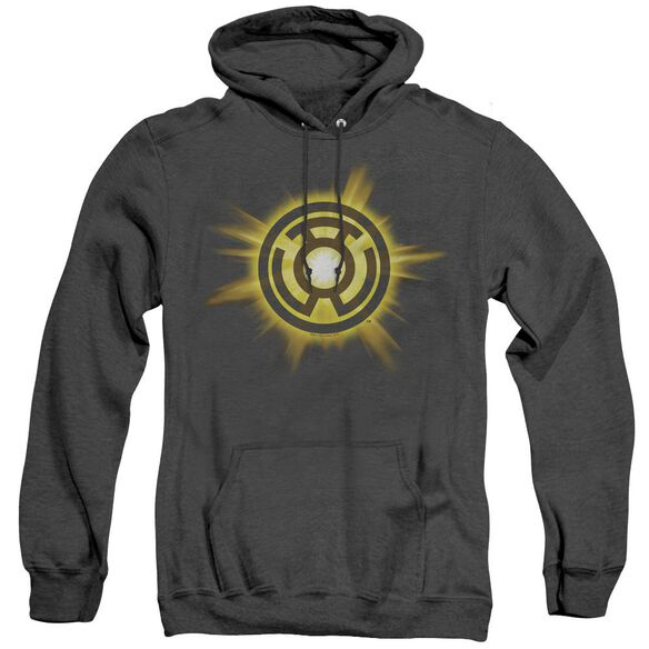 Green Lantern Yellow Glow - Adult Heather Hoodie - Black