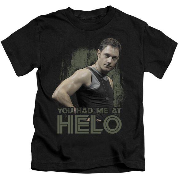 Bsg Had Me At Helo Short Sleeve Juvenile Black T-Shirt
