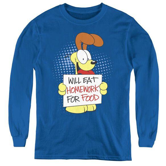 Garfield Will Eat Homework - Youth Long Sleeve Tee - Royal Blue