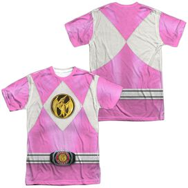 Power Rangers Pink Ranger Emblem (Front Back Print) Short Sleeve Adult Poly Crew T-Shirt