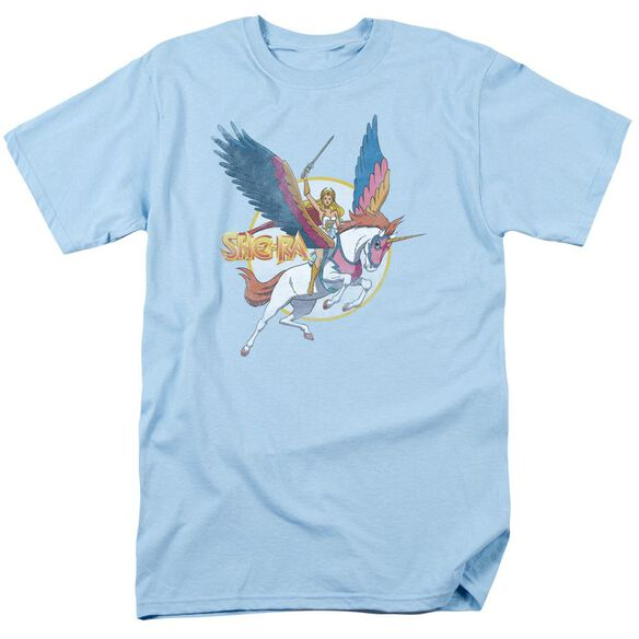 She Ra And Swiftwind Short Sleeve Adult Light Blue T-Shirt
