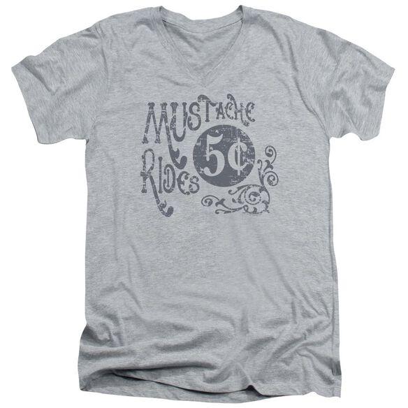 Mustache Rides Short Sleeve Adult V Neck Athletic T-Shirt
