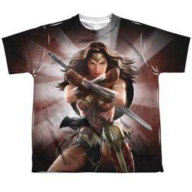 Batman V Superman Wonder Woman Light Short Sleeve Youth Poly Crew T-Shirt