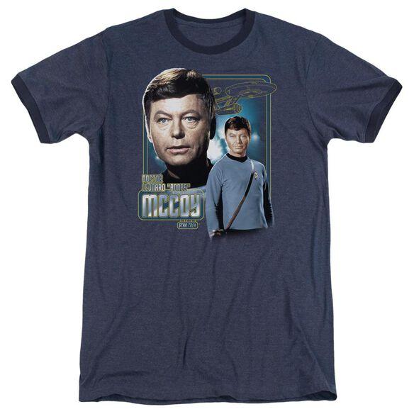 Star Trek Doctor Mccoy Adult Heather Ringer Navy