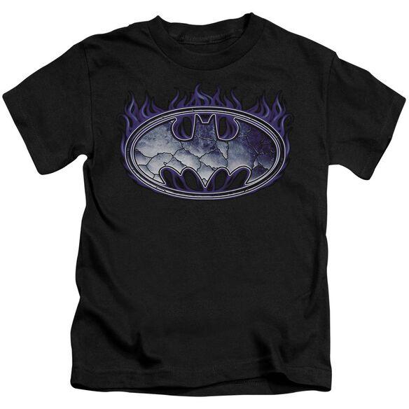 Batman Cracked Shield Short Sleeve Juvenile Black T-Shirt