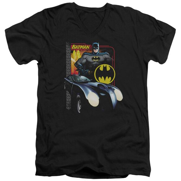 Batman Bat Racing Short Sleeve Adult V Neck T-Shirt