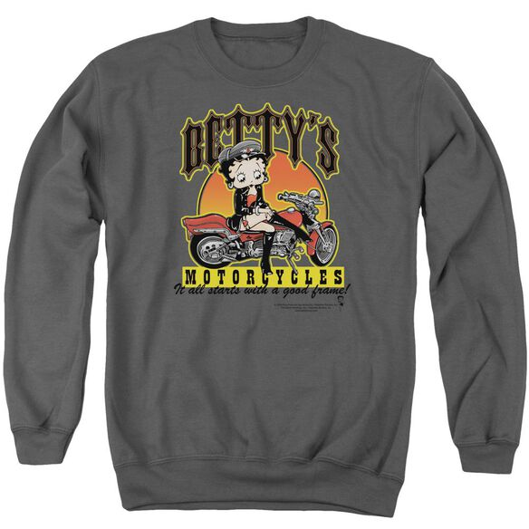 Betty Boop Betty'S Motorcycles Adult Crewneck Sweatshirt