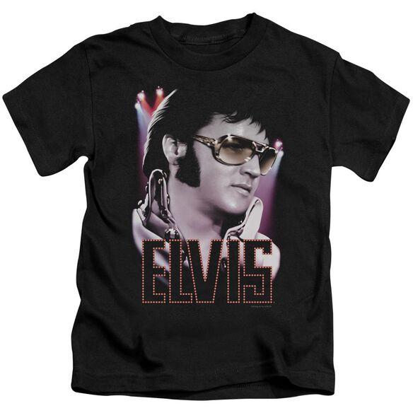 Elvis 70's Star Short Sleeve Juvenile Black Md T-Shirt