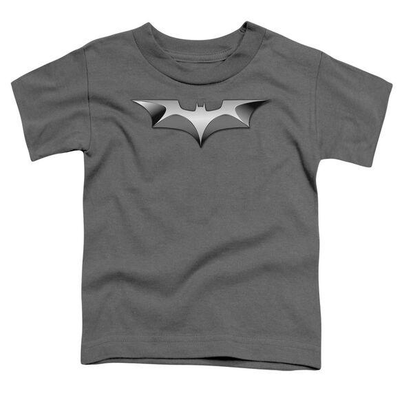 Dark Knight Metal Bat Logo Short Sleeve Toddler Tee Charcoal T-Shirt