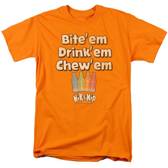 Dubble Bubble Bite Drink Chew Short Sleeve Adult Orange T-Shirt
