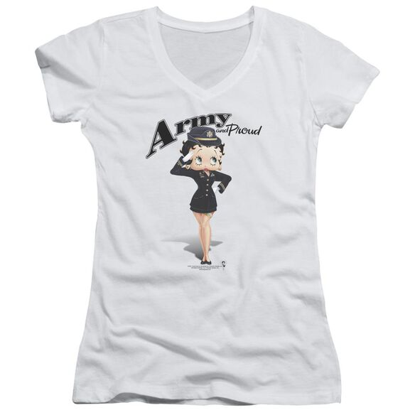 Betty Boop Army Boop Junior V Neck T-Shirt