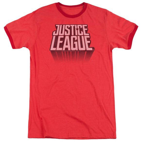 Justice League Movie League Distressed Adult Ringer Red