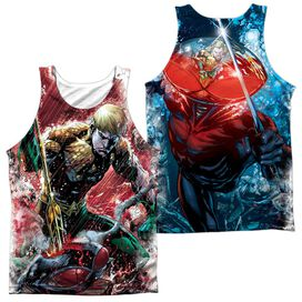 Jla Aquaman Vs Manta (Front Back Print) Adult 100% Poly Tank Top