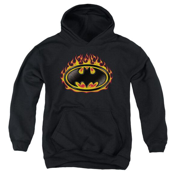 Batman Bat Flames Shield Youth Pull Over Hoodie