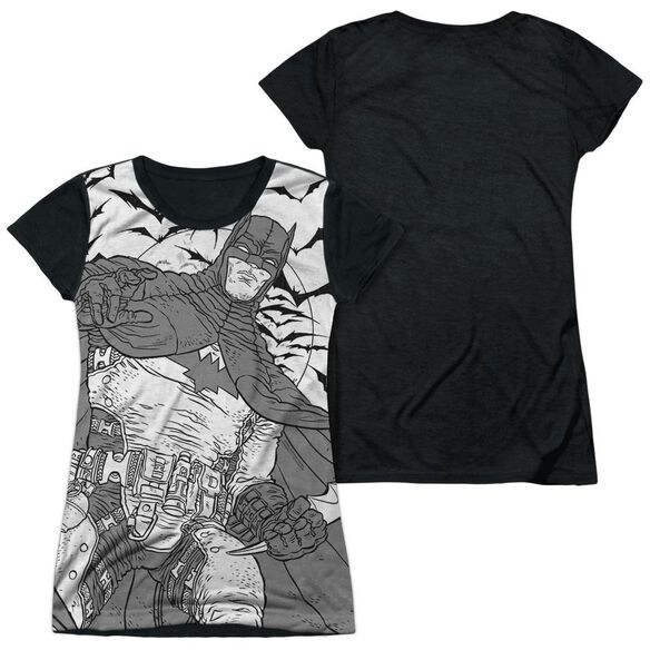 Batman Liney Sub Short Sleeve Junior Poly Black Back T-Shirt