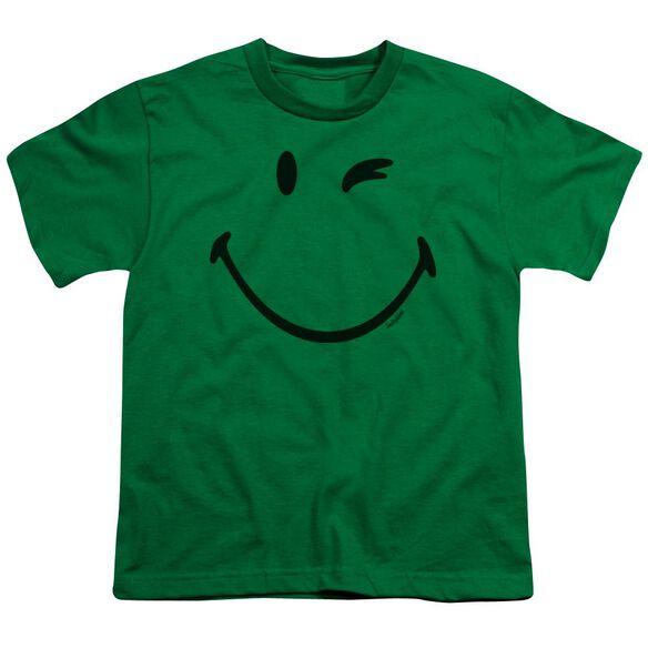 Smiley World Big Wink Short Sleeve Youth Kelly T-Shirt