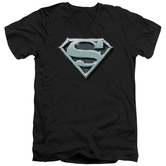 SUPERMAN CHROME SHIELD - S/S ADULT V-NECK - BLACK T-Shirt