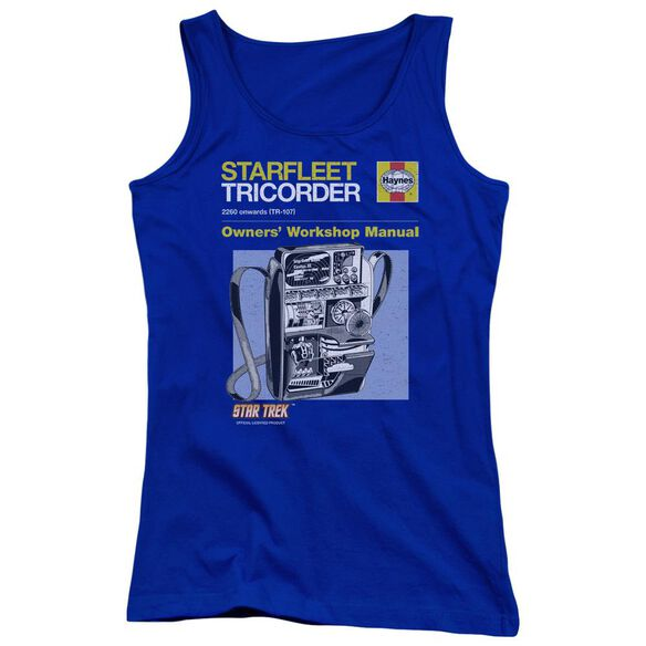 Star Trek Tricorder Manual Juniors Tank Top Royal