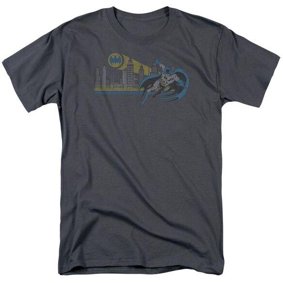 Dc Gotham Retro Short Sleeve Adult Charcoal T-Shirt