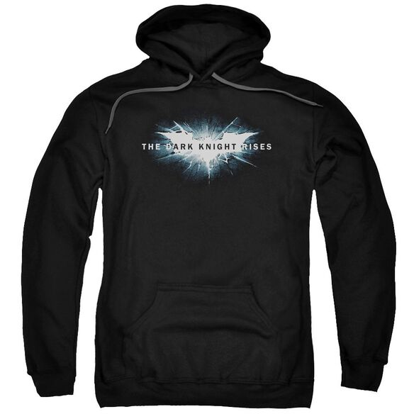 Dark Knight Rises Cracked Bat Logo Adult Pull Over Hoodie