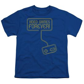 Video Games Forever Short Sleeve Youth Royal T-Shirt