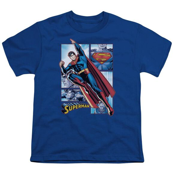Jla Superman Panels Short Sleeve Youth Royal T-Shirt