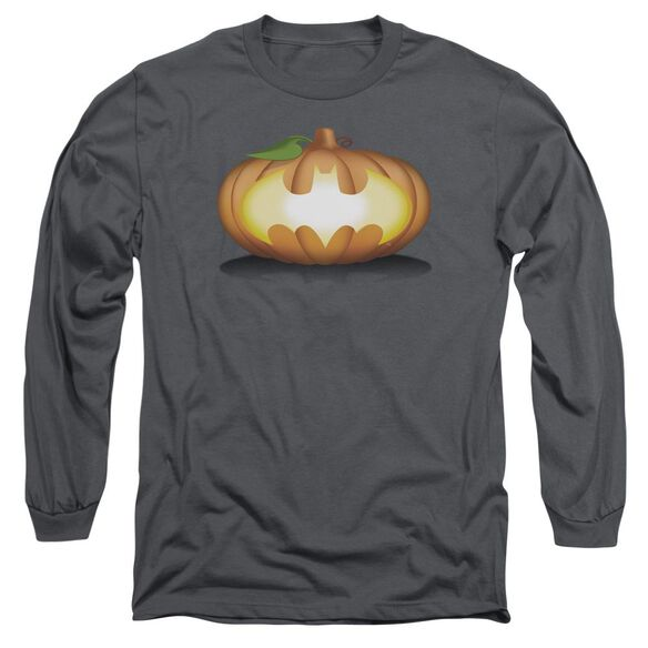 Batman Bat Pumpkin Logo Long Sleeve Adult T-Shirt