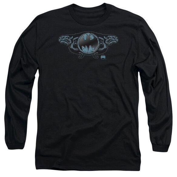 Batman Two Gargoyles Logo Long Sleeve Adult T-Shirt