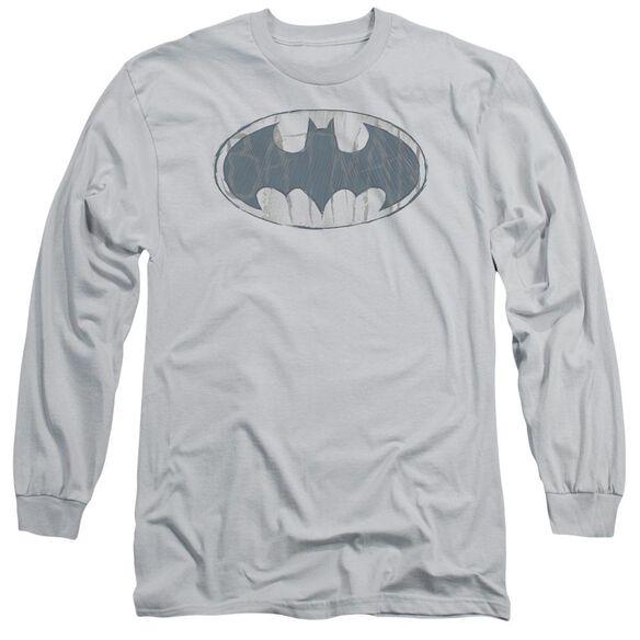 BATMAN WATER SKETCH SIGNAL - L/S ADULT 18/1 - SILVER T-Shirt