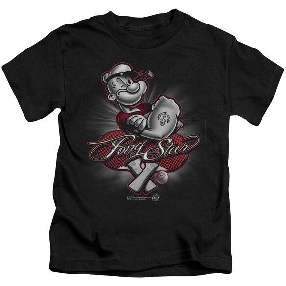 Popeye Pong Star Short Sleeve Juvenile Black Md T-Shirt