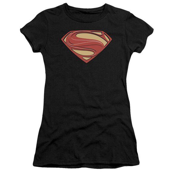 Man Of Steel New Solid Shield Short Sleeve Junior Sheer T-Shirt