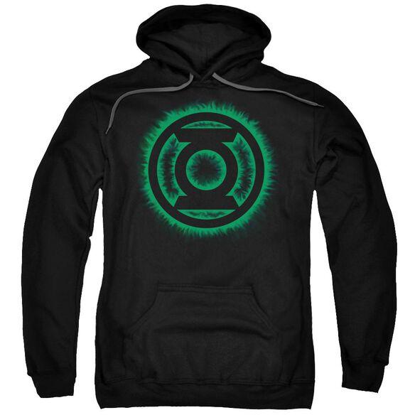 Green Lantern Green Flame Logo Adult Pull Over Hoodie Black