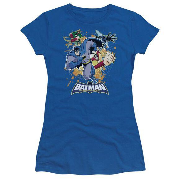 Batman Bb Burst Into Action Short Sleeve Junior Sheer Royal T-Shirt