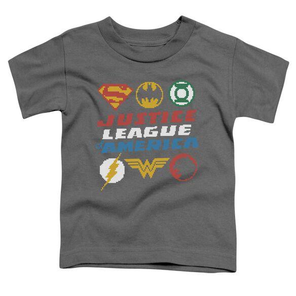 Jla Pixel Logos Short Sleeve Toddler Tee Charcoal T-Shirt