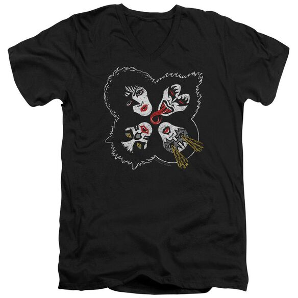 Kiss Rock And Roll Heads Short Sleeve Adult V Neck T-Shirt