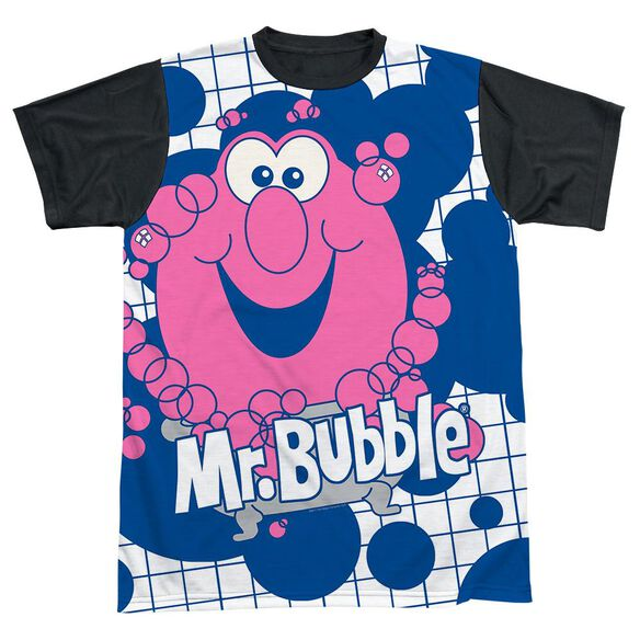 Mr Bubble Tub Time Short Sleeve Adult Front Black Back T-Shirt